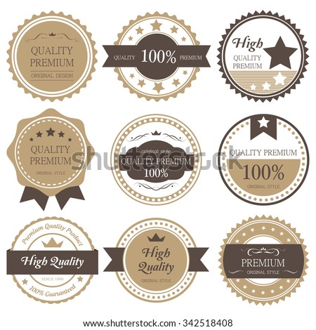 Premium, quality retro vintage label collection - stock vector