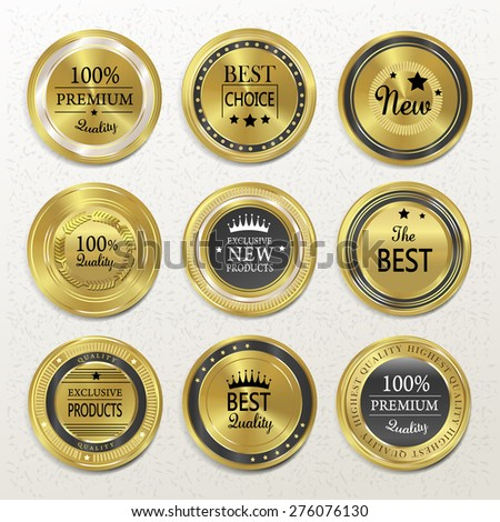 premium quality round gold labels collection over beige - stock vector