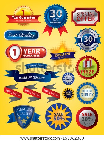 Premium Quality Seals, Icons, Sale Buttons, ribbons (Vector) - stock vector