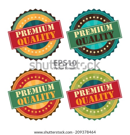 Premium Quality Sign on Vintage, Retro Stamp, Icon, Button, Label Isolated on White, Vector Format - stock vector