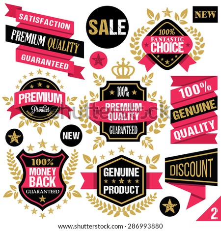 Premium quality stickers, badges, labels and ribbons. Vector illustration. Isolated on white background. Set 2 - stock vector