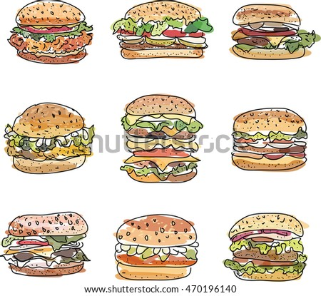Premium quality vector icons set of homemade humburgers.