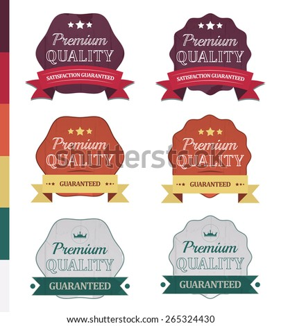 Premium quality vector retro labels or icons in vintage design with ribbon - stock vector