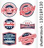 Premium quality vintage labels with removable grunge effect in blue red color - stock vector