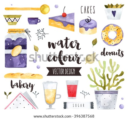 Premium quality watercolor icons set of homemade sweets, bakery food and desserts. Hand drawn realistic vector decoration with text lettering. Flat lay watercolor objects isolated on white background - stock vector