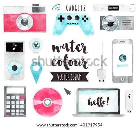 Premium quality watercolor icons set of smart media devices and personal gadgets. Hand drawn realistic vector decoration with text lettering. Flat lay watercolor objects isolated on white background. - stock vector
