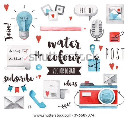 Premium quality watercolor icons set of social media content posting and blogging. Hand drawn realistic vector decoration with text lettering. Flat lay watercolor objects isolated on white background. - stock vector