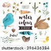 Premium quality watercolor icons set of spring celebration, Easter egg happiness. Hand drawn realistic vector decoration with text lettering. Flat lay watercolor objects isolated on white background. - stock vector