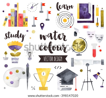 Premium quality watercolor icons set of study skills, school learning and education. Hand drawn realistic vector decoration with text lettering Flat lay watercolor objects isolated on white background - stock vector