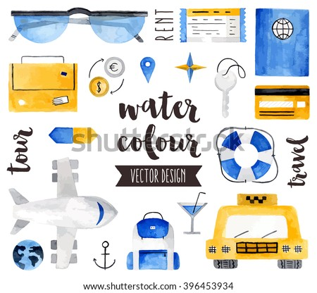 Premium quality watercolor icons set of world traveling, vacation destination. Hand drawn realistic vector decoration with text lettering. Flat lay watercolor objects isolated on white background. - stock vector