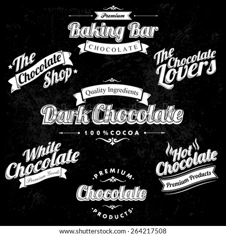 Premium Retro Chocolate Vintage And Label Set On Chalkboard - stock vector