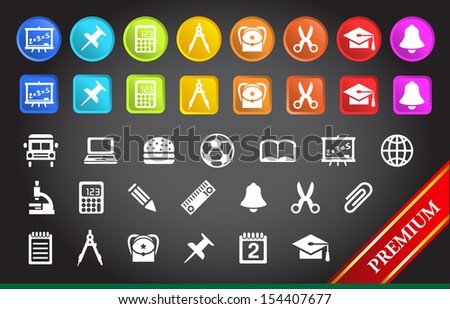 Premium School and Stationery Icons.