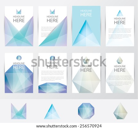 premium set collection of brochure covers and letterhead template mockups with trendy soft mesh blur facet crystal gem design pattern and logo elements- for business visual identity- polygon style - stock vector
