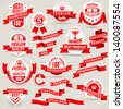 Premium set of labels and ribbons - stock vector