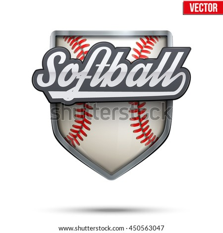 Premium symbol of Softball label. Symbol of sport or club with shield and tag. Vector Illustration isolated on white background.