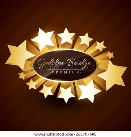 premium vector golden badge design with stars surrounding the label - stock vector