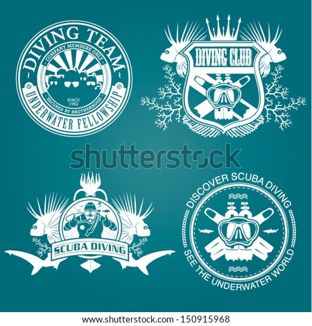 premium vector label for scuba diving club and underwater swimming - stock vector