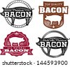 Premium Vintage Bacon Labels - stock vector
