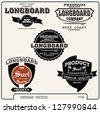 premium vintage vector surf and surfer retro label elements.longboard vector elements - stock photo