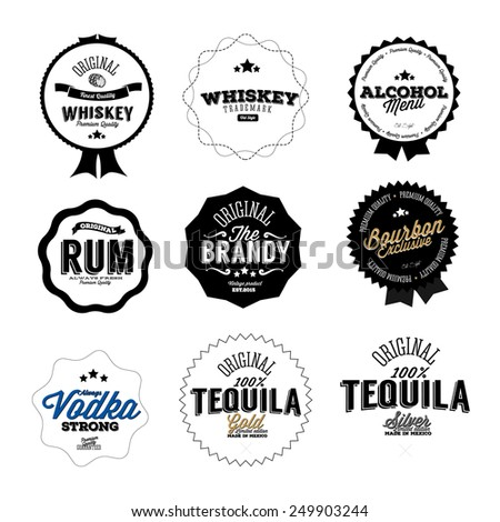 Premium Vintage Whiskey Alcohol labels and badges - stock vector