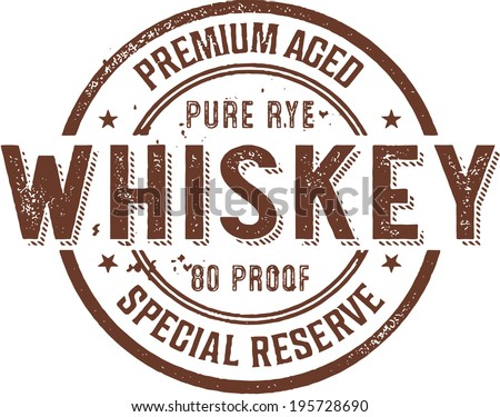 Premium Vintage Whiskey Alcohol Stamp - stock vector