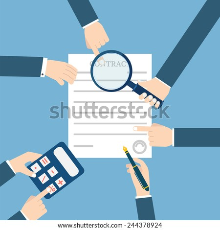 Preparation business contract. - stock vector