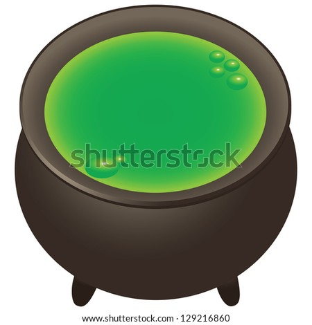 Preparation of magical ingredients in the pot. Vector illustration. - stock vector