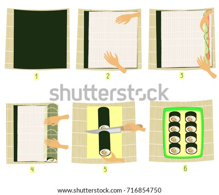 Preparation sushi pictures stepbystep instruction do stock vector hd preparation of sushi in pictures step by step instruction do it yourself solutioingenieria Image collections