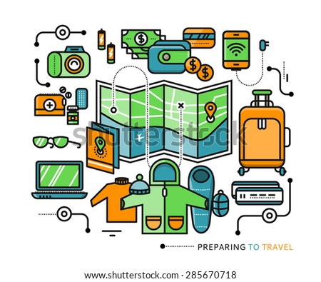 Preparing to travel. Necessary items for the journey. What to pack. Stroke icons for web design, analytic, graphic design and in flat design - stock vector