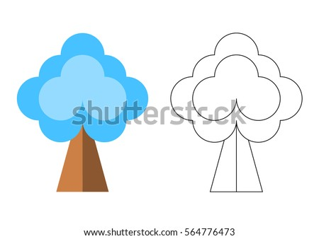 Preschool Coloring Page With Winter Tree Vector