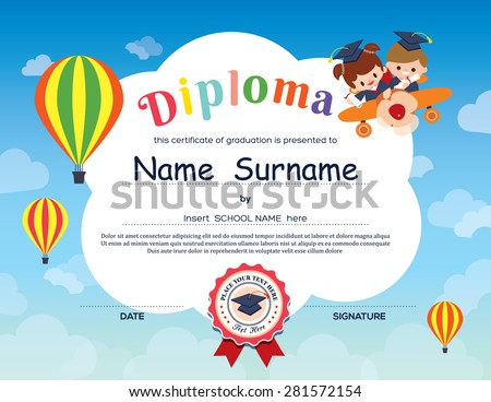 Kindergarten diploma opened book children graduation stock vector preschool elementary school kids diploma certificate background design template yadclub