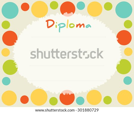 Preschool elementary school kids diploma certificate stock vector hd preschool elementary school kids diploma certificate background design template school diploma frame with yadclub Image collections