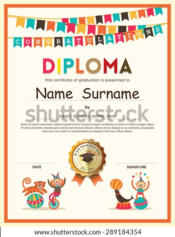Preschool Elementary school Kids Diploma certificate template with bunting flags background design - stock vector
