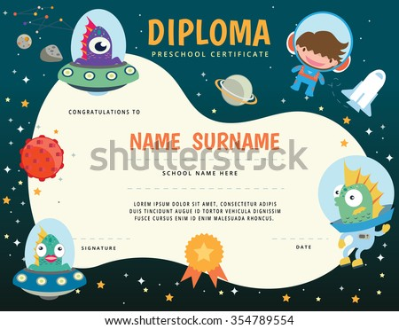 Preschool Elementary school Kids Diploma certificate,The universe kids Theme, Solar system, Planets comparison, Sun and Moon , Galaxies Classification,Kids space learning,Full vector, pluto planet