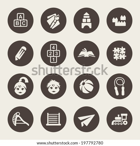 Preschool icon set - stock vector