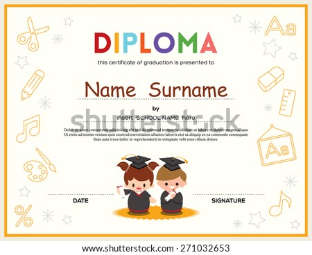 Preschool kids diploma certificate background design stock vector preschool kids diploma certificate background design template yadclub