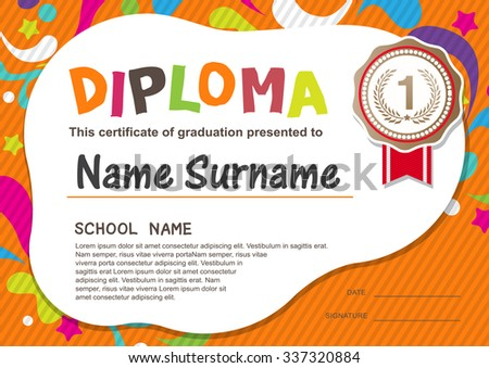 Diploma certificate stock images royalty free images vectors preschool kids diploma certificate background design template yadclub Image collections