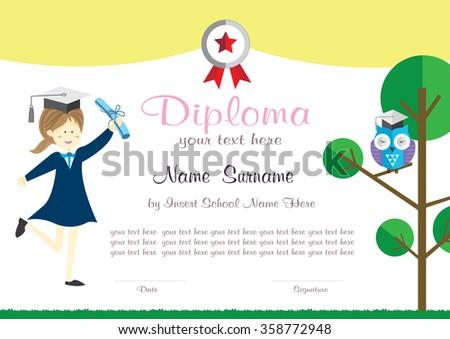 Preschool kids diploma certificate background design stock vector preschool kids diploma certificate background design template yadclub Choice Image