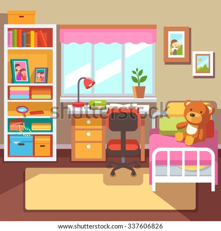 Preschool school student girls room interior stock vector for Design my room online free