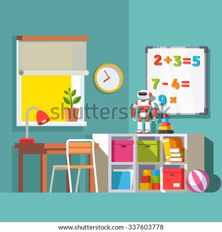Preschool or school student kid room interior. Study desk at the window, storage combination with drawer boxes, some toys books and robot. With Flat style vector illustration. - stock vector