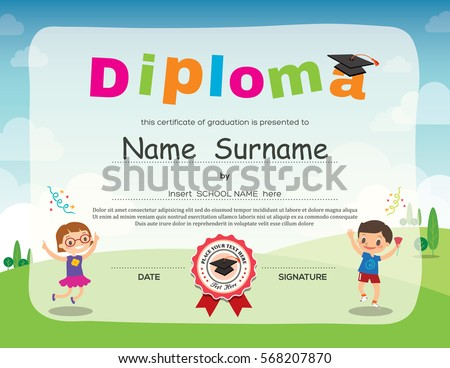 Preschool background stock images royalty free images vectors preschool school kids diploma certificate background design vector template yadclub Gallery