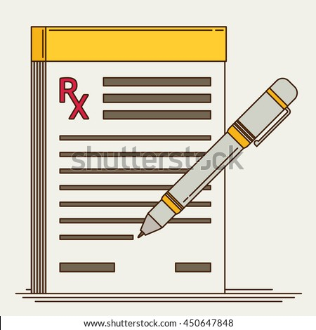 Prescription pad. Medical prescription vector illustration.