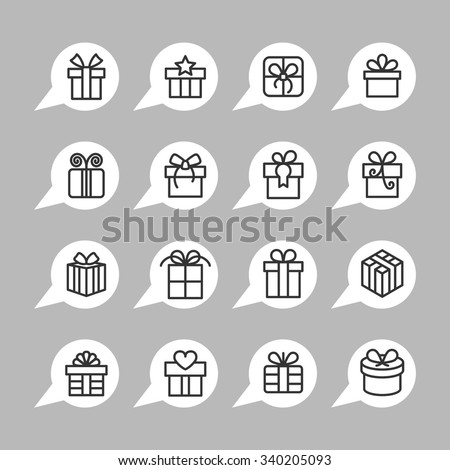 Present and gift icons. Holiday pictogram. Celebration vector graphic. Surprise design collection.