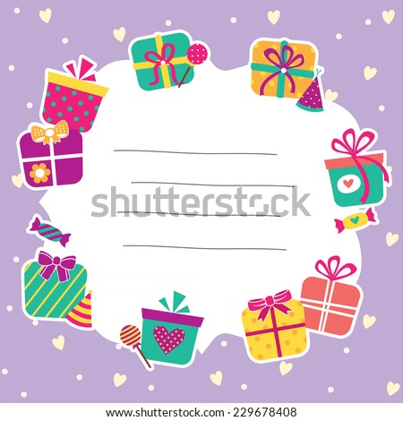 present and gifts layout design - stock vector