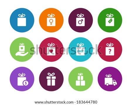 Present box circle icons on white background. Vector illustration. - stock vector