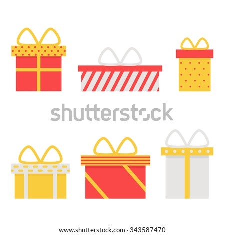 Present box isolated icons on white background. Present for christmas, birthday, holiday. Gift icons set. Flat style vector illustration.  - stock vector