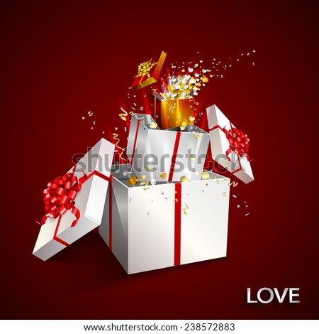 Present box on red background. Open gift with fireworks from confetti and hearts. Border design. Background for promotions and offers. Valentine's day theme. Festive action.