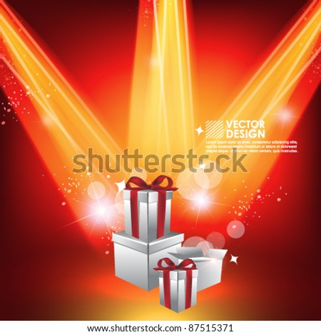 present box with beautiful spotlight vector design