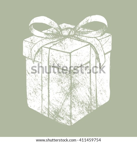Present box with bow  in vintage style, vector grunge - stock vector