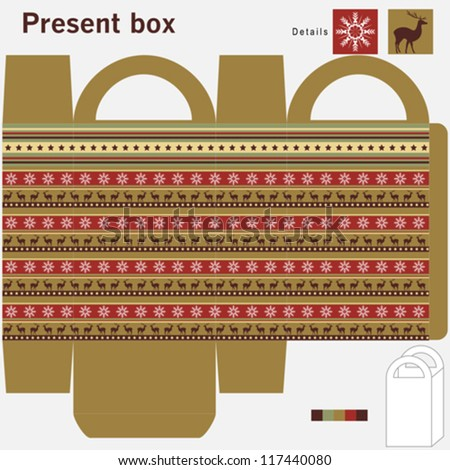 Present box with ornaments - stock vector